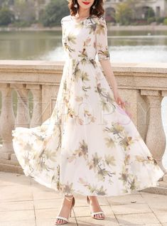 Shop for high quality Elegant Print Big Hem Maxi Dress online at cheap prices and discover fashion at Ezpopsy.com