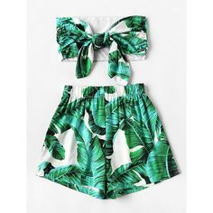 Green Leaf Print Tie Front Crop Top And High Waist Shorts (€18) ❤ liked on Polyvore featuring shorts, two piece, woven shorts, green high waisted shorts, high rise shorts, cropped shorts and high-rise shorts
