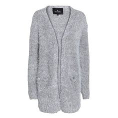 Designers Remix Valcardi hairy knit cardigan (€120) ❤ liked on Polyvore featuring tops, cardigans, outerwear, clothes - outerwear, greymelange, knit top, long sleeve knit cardigan, long sleeve cardigan, grey knit top and round neck cardigan