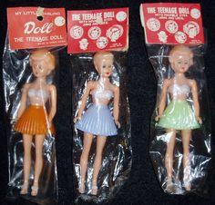 ... about MIP! 3 Vintage Plastic 1950s-era DIME STORE Teenage Dolls
