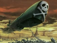 captain harlock's ship, the arcadia.  the back end is made up like a pirate ship.