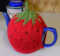 Free knitting pattern for Strawberry Tea Pot Cozy  Designed by Katya Frankel