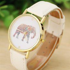 Unisex Fashion Women Elephant Printing Pattern Weaved Leather Quartz Dial Watches novel design Relogios JA Dropshipping #Affiliate