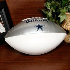 Wilson Dallas Cowboys Autograph Official Size Football by Wilson. $24.99. Lacing detail. Inflate 7-9 lbs.. Imported. Team logo. Officially licensed NFL product. Wilson Dallas Cowboys Silver-White Full-Size Autograph FootballImportedTeam logoInflate 7-9 lbs.Lacing detailOfficially licensed NFL productTeam color panelTeam color panelTeam logoLacing detailInflate 7-9 lbs.ImportedOfficially licensed NFL product