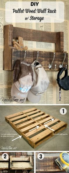 Wood Pallet Projects An easy tutorial for a DIY wall rack with storage from pallet wood - DIY pallet wood rack for hats, coats and storage via Knick of Time. It's cheap and easy with a few basic tools! Diy Pallet Wall, Pallet Crafts, Diy Pallet Projects, Pallet Ideas For Walls, Wood Crafts, Pallet Ideas Easy, Wooden Pallets, Pallet Wood, Mur Diy