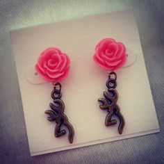Hot pink rose earrings with dangle deer head by BulletBabeDesigns  Country Girl. Hunting. Country Wedding. Redneck Wedding. Fishing Jewelry. Bullet Jewelry. Redneck. Country Boy. Country. Deer Hunting. Fishing Girl. Browning. Camo. Realtree. Mossy Oak. Guns. Firearms. Shotgun Shell Jewelry. Archery. Bullet Ring. Bullet Earrings. Huntress. Bowhunting. Farm Girl. Farm Boy. 4H. FFA. Bullet Jewelry. Shotgun Shell Jewelry. Country Jewelry. Country Girl. Country Boy.