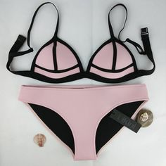 Swimwear Women Fashion Neoprene Bikini Woman New Summer 2016 Sexy Swimsuit Bath Suit Push Up Bikini set Bathsuit Biquini SC08
