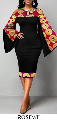 Flare Sleeve Tribal Print Keyhole Neckline Dress - Source by kessi_mc_gmx - African Fashion Ankara, Latest African Fashion Dresses, African Dresses For Women, African Print Dresses, African Print Fashion, Africa Fashion, African Attire, Fashion Prints, African Style Clothing