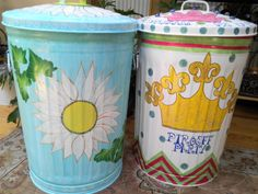 20 Gallon Hand Painted Trash Cans  krystasinthepointe.com - ETSY