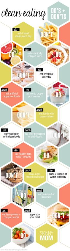 Clean Eating Infographic Getting started- The do's and don'ts of clean eating #health #cleaneating