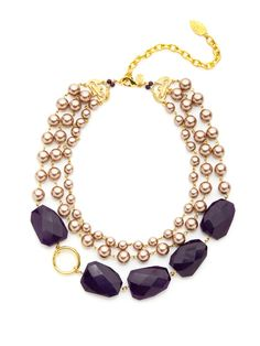 David Aubrey  Oversized Pearl & Quartz Multi Strand Necklace
