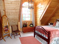 Log Home Bedroom, Bedroom Loft, Cozy Bedroom, Bedroom Decor, Log Siding, Lots Of Windows, Custom Windows, Window Design, Beautiful Bedrooms