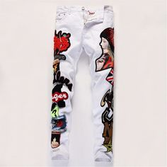 (38.02$)  Know more - http://aij0j.worlditems.win/all/product.php?id=32727225411 - EU Nightclub Jeans Patchwork Trousers Quality Slim Straight White Print Beauty Jeans Brand Denim Luxury Biker Jeans YW597