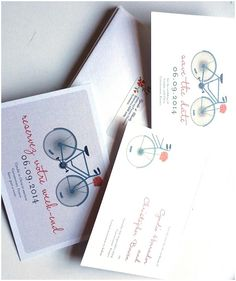 French wedding stationery, bicycle, bilingual save the date, invitations, Fi Fy Fo Fum Designs.