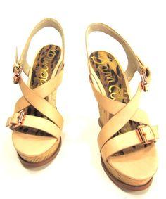 4e70b6635b3135 Sam Edelman Women s Josie Wedge Sandal Natural US Size 7 5 EUR 38 M New