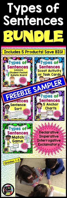 "This is a freebie sampler of all five components of my ""Types of Sentences"" Bundle. The bundle contains everything you need to teach about the four kinds of sentences (Declarative, Imperative, Interrogative, and Exclamatory) as well as what a complete sen Interactive Activities, Classroom Activities, Teaching Resources, Classroom Ideas, Classroom Freebies, Writing Activities, Kinds Of Sentences, Parts Of A Sentence, Thing 1"