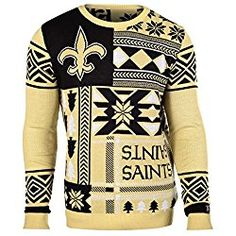 NFL New Orleans Saints Patches Ugly Sweater, Black, Large