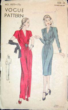 Vintage Original Vogue 40's Evening Dress Pattern No. 9870