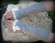 Lacey Arm Warmers - womens Fingerless Gloves - Light Grey open-knit with lace trim and faux buttons