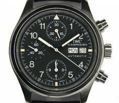 Modern Vintage IWC Flieger Chronograph Circa 1997, black dial pilots watch waterprof to 60m