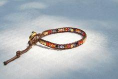"""Bracelet wrap cristal de Bohême violet mauve,orange et cubes Miyuki dorés - Collection """"La Bohême"""" : Bracelet par perles-et-petales"""