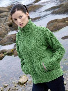 Aran Crafts Irish Aran Womens Wool Cable Knit Ladies Zip Pocket Jacket Cardigan Sweater
