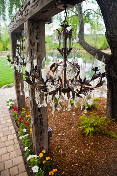 chandeliers at pond ceremony site