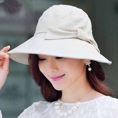 Bowknot sun bucket hat for women plain beige summer hats 907d51ecbd35
