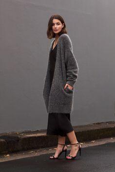 Oversized grey Acne knit + Black slip dress | Harper and Harley