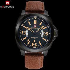b95cc821040 Barato Naviforce original marca de luxo relógio de quartzo analógico  calendário dos homens do exército militar