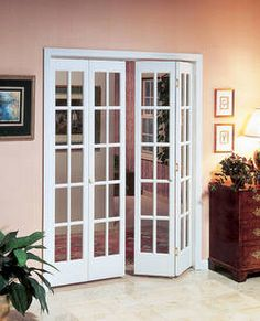 interior folding glass doors Interior Decorative and Glass Bifold Doors - Easy to Install Privacy . French Door Curtains, French Doors Patio, Farmhouse Patio Doors, French Patio, French Windows, Bifold French Doors, Double Doors, French Pocket Doors, French Closet Doors