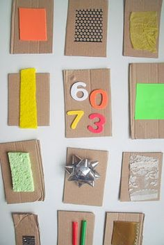 Tactile Exploration Cards for Babies.  Repinned by SOS Inc. Resources.  Follow all our boards at http://pinterest.com/sostherapy  for therapy resources.