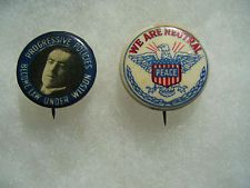 2 Woodrow Wilson Political Campaign Pin Badge Button No.4