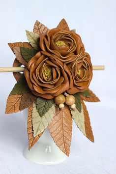 Leather hair stick barrette, hair slide, hair pin with Flowers - color: Tan, brown - Small