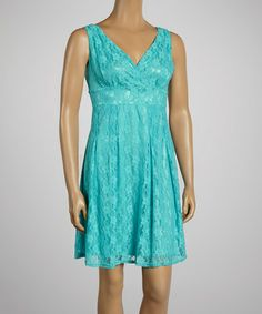Loving this Blue Lace Surplice Dress on #zulily! #zulilyfinds