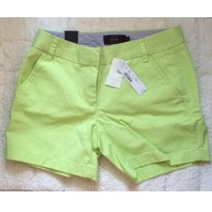 """J Crew 5"""" Chino Shorts Cotton. Zip fly. City fit. Sits just above hip. 5"""" inseam. Color is citrus lime. J. Crew Shorts"""