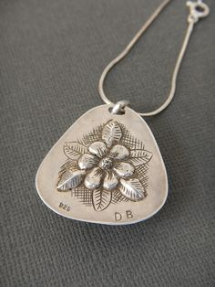 sea stone pendant with flower chased and repousse back in Sterling silver. 12-14-14 back view