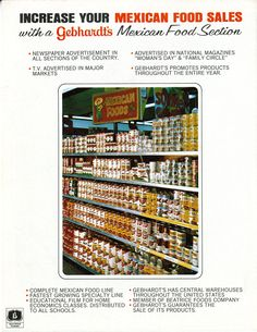 Mexican food sections in grocery stores featuring Gebhardt products often grew in popularity #utsalibraries #gebhardt #chili #mexicanfood lib.utsa.edu/gebhardt