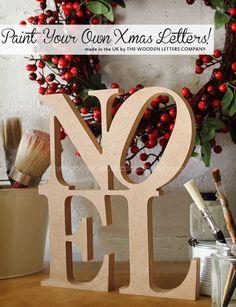 NOEL wooden letters sign, unpainted