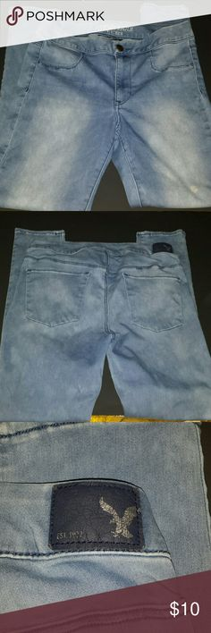 """A.E.O. extreme leggings super stretch Super super stretch leggings faded blue color Waist flat 14 1/4"""" (28 1/2) Inseam 27 1/2"""",   length 37 1/4"""" Worn , but good condition American Eagle Outfitters Pants Leggings"""