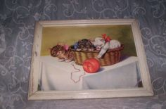 REDUCED Vtg 1950's Framed Kitty Cats Kittens Basket & Yarn Print Shabby Picture Frame