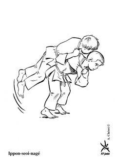 Kleurplaat judo / Ippon-seoi-nagé