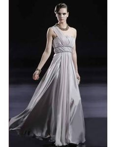 One Shoulder Bead Embellished to Waistband Floor-length Tencel Evening Dress