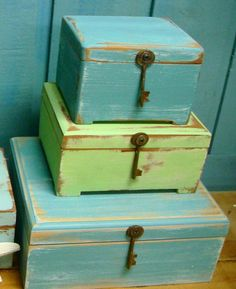 Weathered Turquoise File Recipe Treasure Box With by CastawaysHall, $21.00