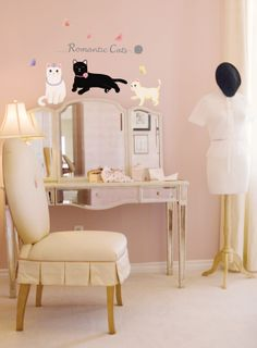 Romantic Cats Wall Stickers. $8.99