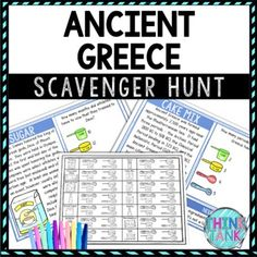 Ancient Greece Activity - Scavenger Hunt Challenge - Gallery Walk by Think Tank Earth Science Activities, History Activities, Party Activities, Holiday Activities, Geography Activities, Classroom Activities, Memorial Day Activities, Middle School History, Upper Elementary Resources