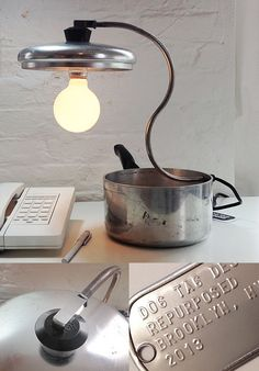 Sauce Pan Lamp by Dog Tag Designs | Please subscribe to my weekly newsletter at upcycledzine.com ! #upcycle