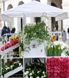 Chanel's Popup Flower Stall, Covent Garden, London via telegraph.co.uk: Stocked with the very same flowers found in their best selling scents (including May Rose, Jasmine, Iris, Tuberose and Patchouli)! #Flower_Stall #Chanel #Covent_Garden