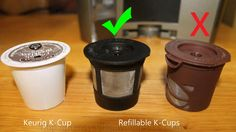 Choosing a refillable K-Cup for the Keurig 2.0. Choose one with straight sides. #HelloKeurig