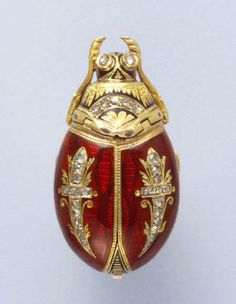 19th Century Swiss gold and enamel brooch watch in the form of a beetle.